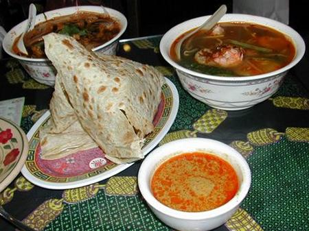Roti Canai, laksa, and Hokkien noodle soup at Sanur